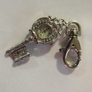 SILVERTONE KEY WATCH WITH LARGE CLIP
